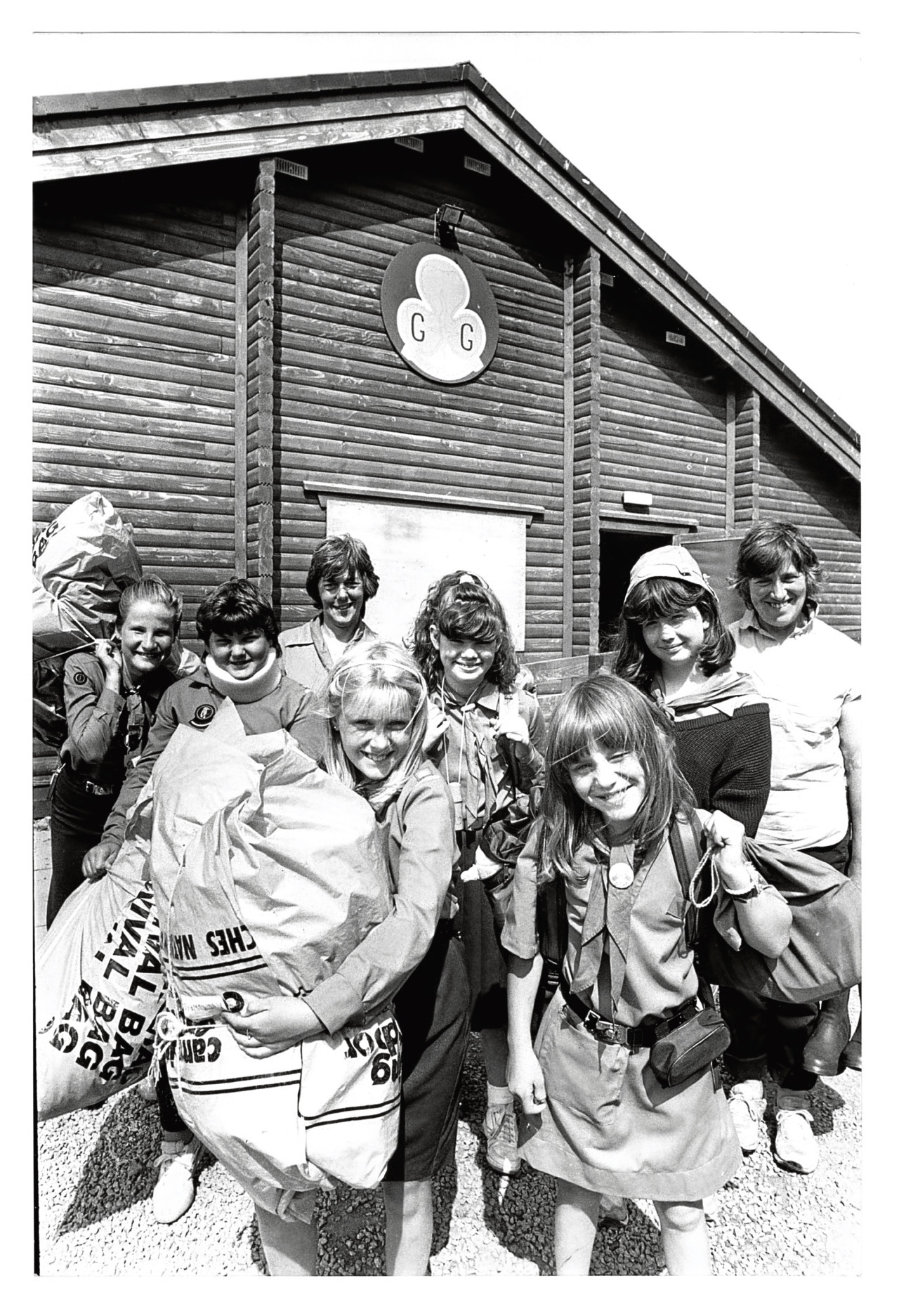 1989: The 2nd Banchory Guides unpack their kit outside their Banchory HQ after their return from their annual camp at Haddo.
