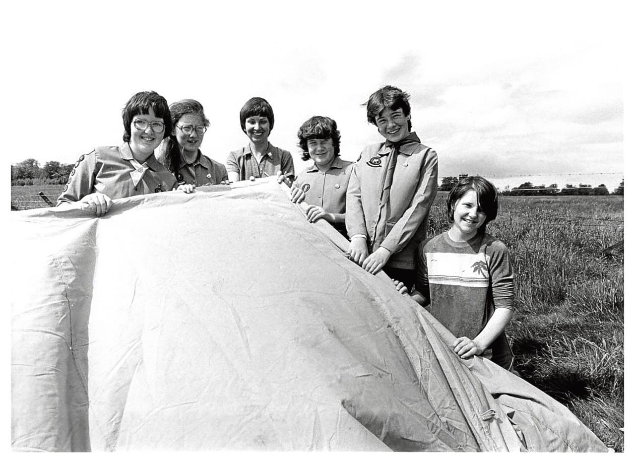 1983: Alison Brown, Kathleen Raeburn, Elizabeth Fraser, county camp adviser, Sandra Milne, Karen Milne and Yvonne Bruce prepare the way at Haddo House  for the start of the Gordon District Guide Camp.