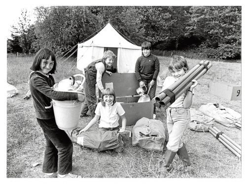 1982: Kim Grant, 11, Mandy Brodie, 12, Cherron Leys, 11, Sandra Rutherford, 13 and  Jennifer Brown, 11, unload their gear at Crathes.