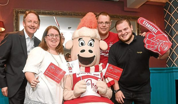 From left, Geoff Cooper of Aberdeen Inspired, Debra Christie of AFC Community Trust, Donny the Sheep, Kieren Joseph of the Foundry and James Jamieson of Haigs.