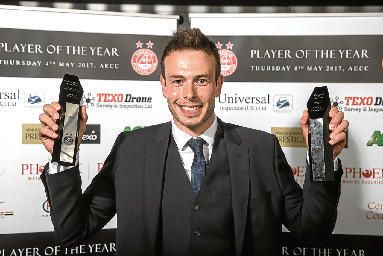 Andrew Considine with his awards double from last night's Player of the Year Awards. (Picture courtesy of Derek Ironside / Newsline Media)