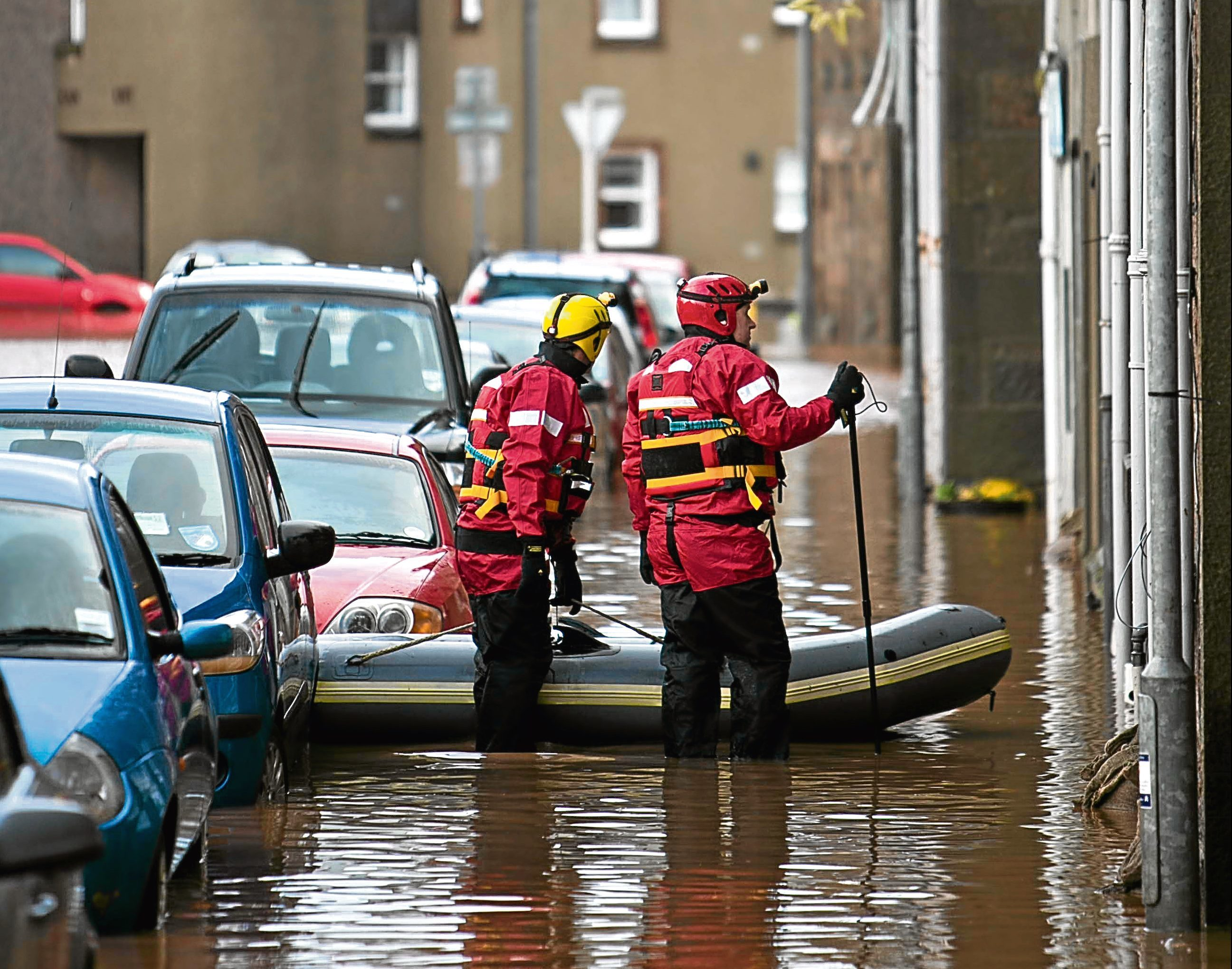 Stonehaven during the flooding of 2012
