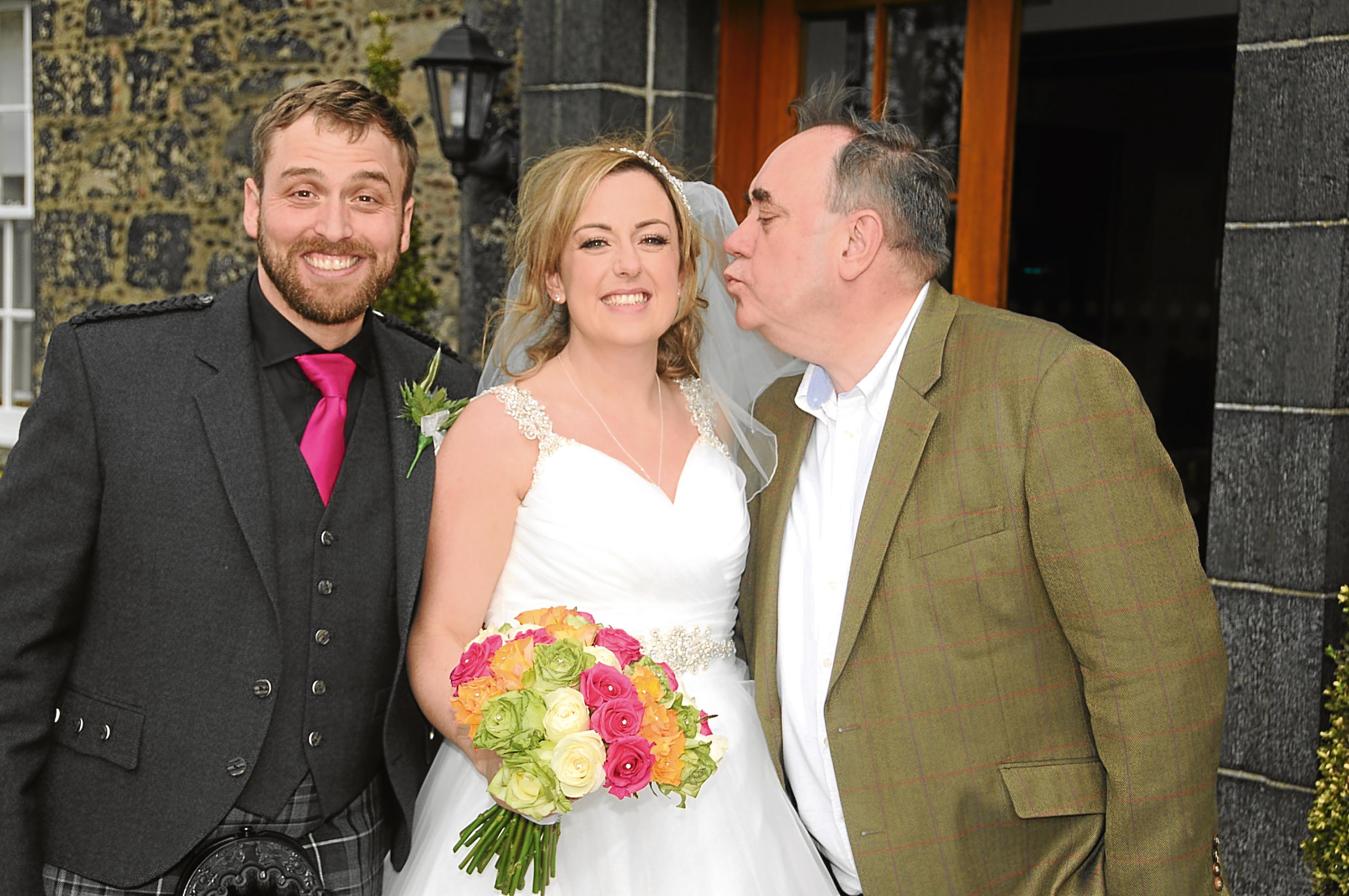 Richard and Stephanie with Alex Salmond on their wedding day.