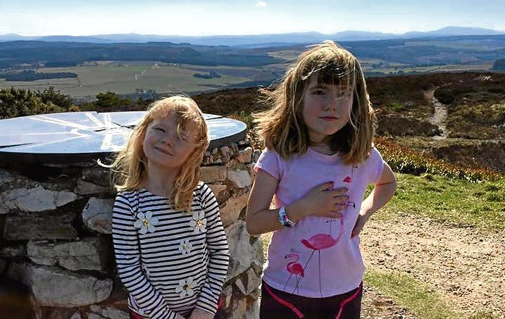 Sisters Orla and Eden Allan on their 'training walk' up Bin Hill over Easter.