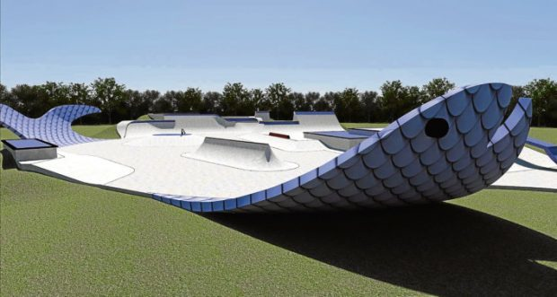 How the fish-shaped skatepark could look once completed.