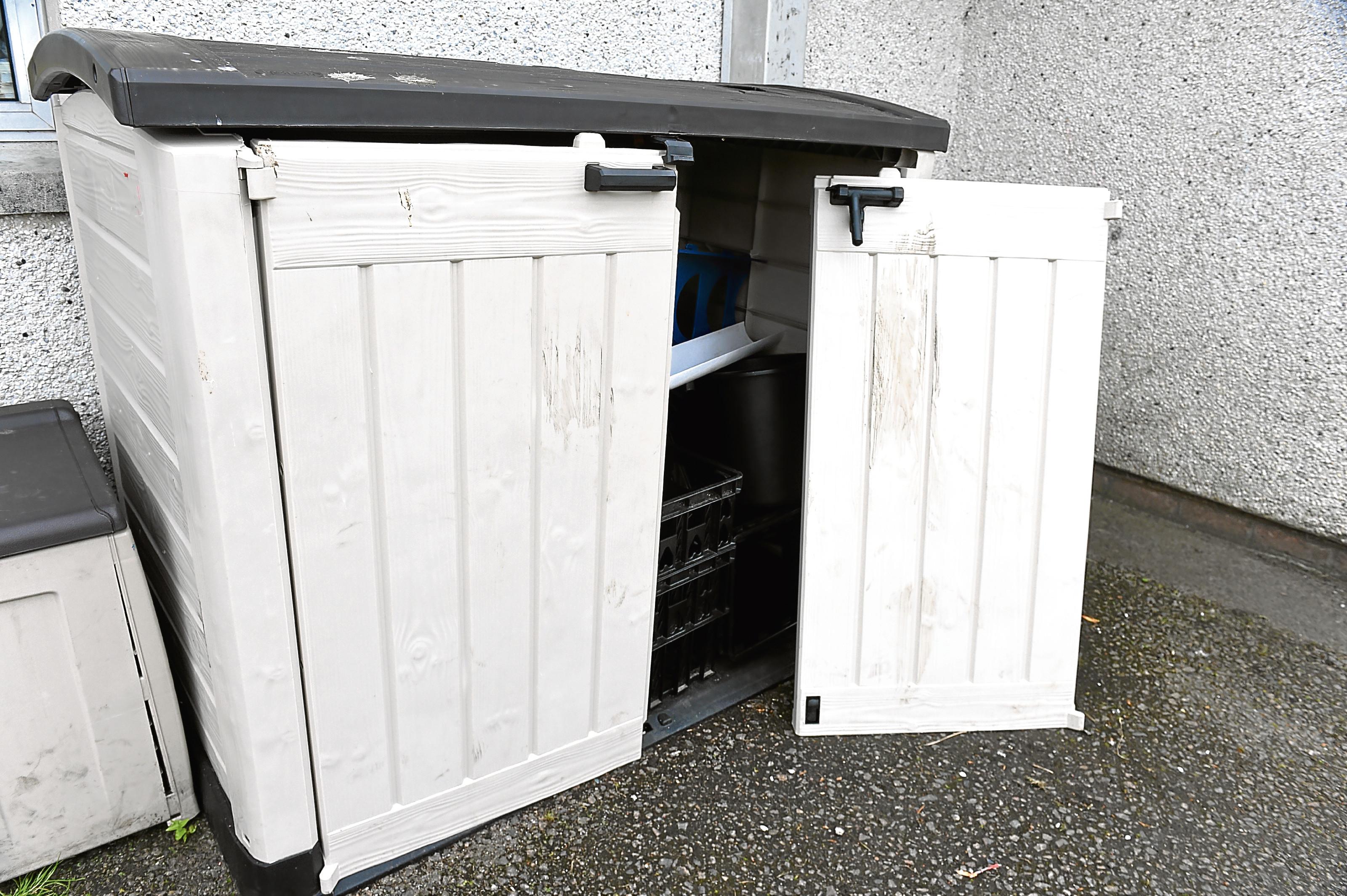 The vandalised storage box at Glashieburn.