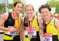 Hazel Wyness (left), with Metro Aberdeen team mates Fiona Brian and Jennifer Elvin.