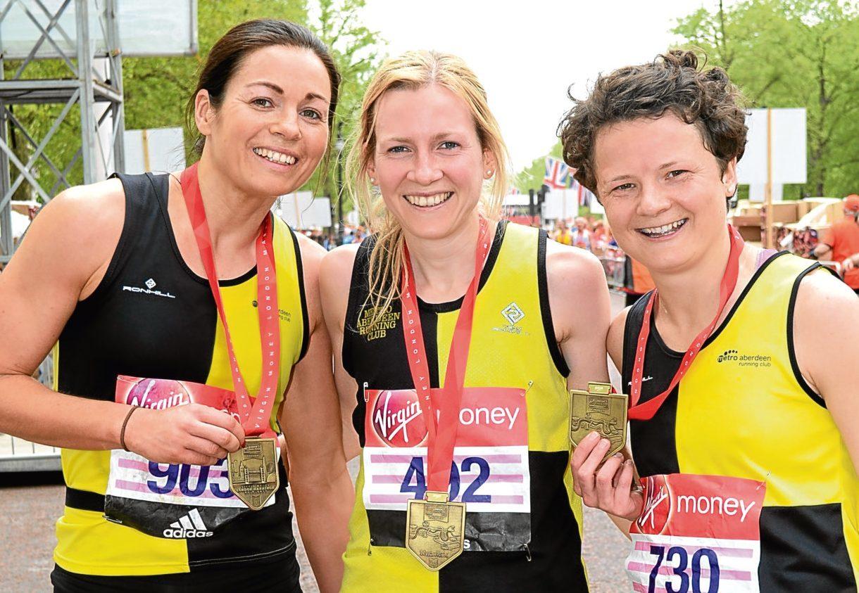 Hazel Wyness (left), with Metro Aberdeen team mates Fiona Brian and Jennifer Elvin.