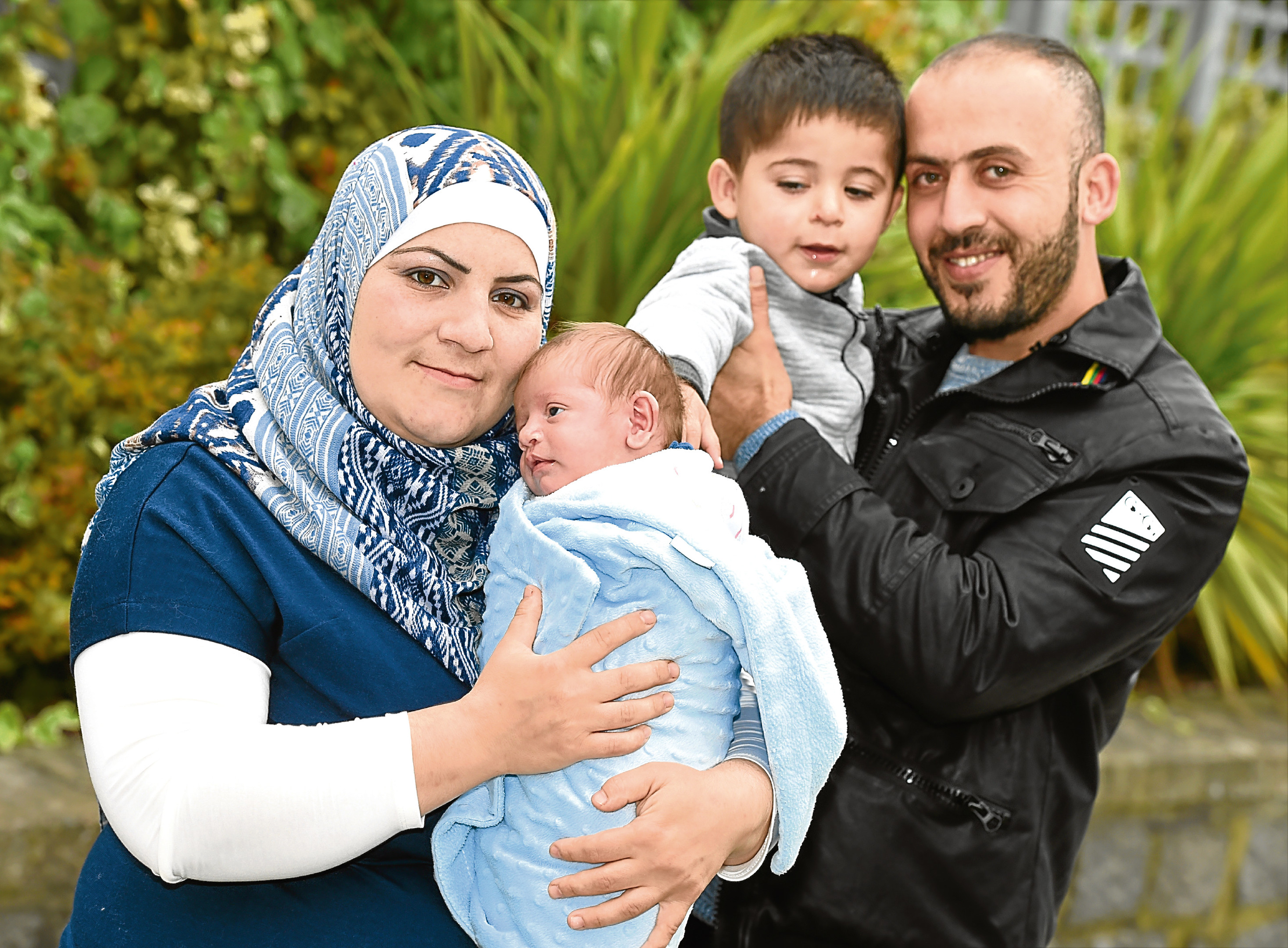 Baby Ibrahim Al Hussein, pictured with dad Khalid Al Hussein, mother Fadila and brother Shadea, was born in Aberdeen last year.