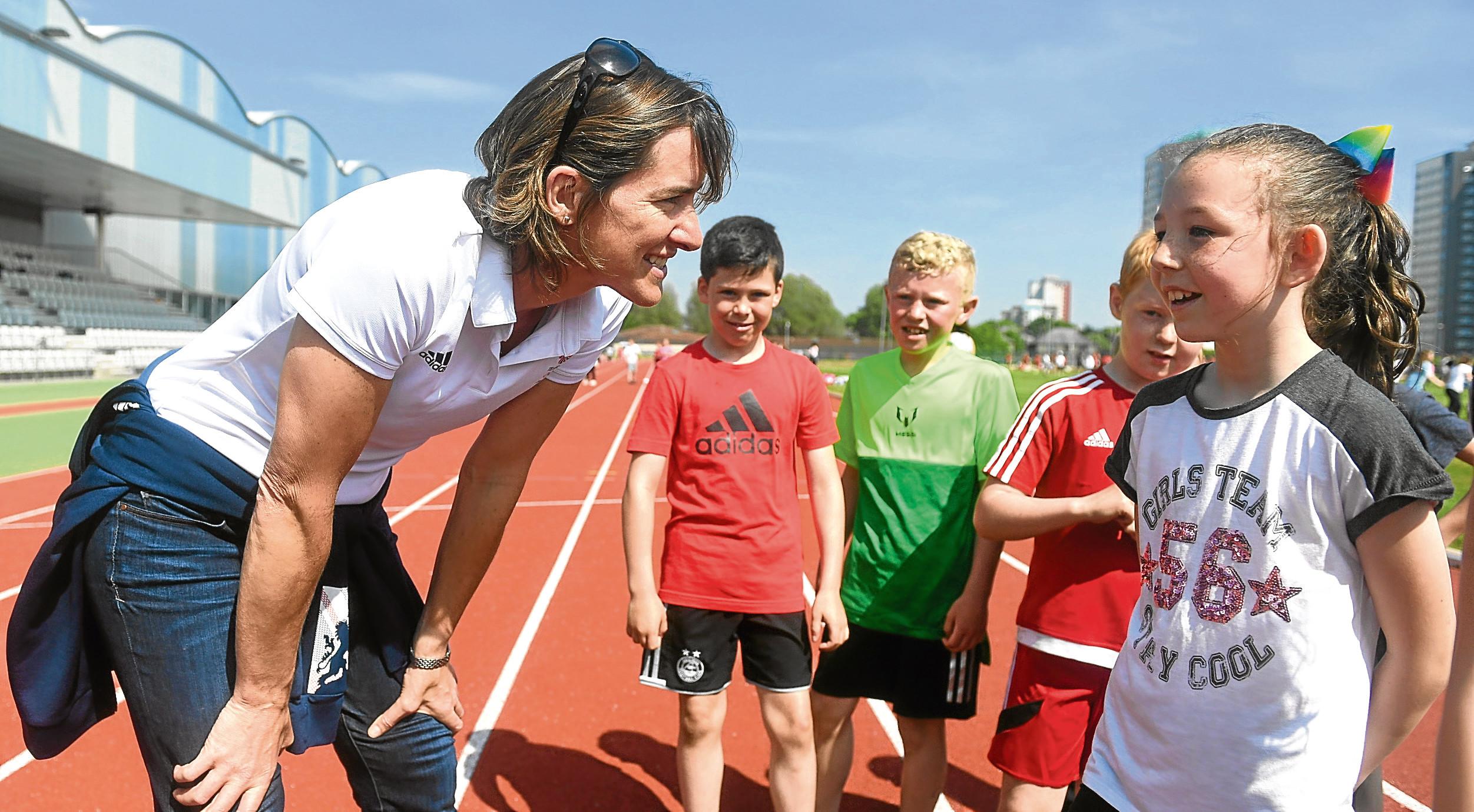 Aberdeen Youth Games Festival of Sport at Aberdeen Sports Village. Dame Katherine Grainger talks to pupils