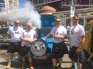 The Bloo Toon Loons in Benidorm with their Thomas the Tank Engine car.
