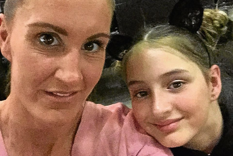 Vicki McFarlane and Kacey-Jai as they took their seats ahead of the Ariana Grande concert which was hit by an explosion.