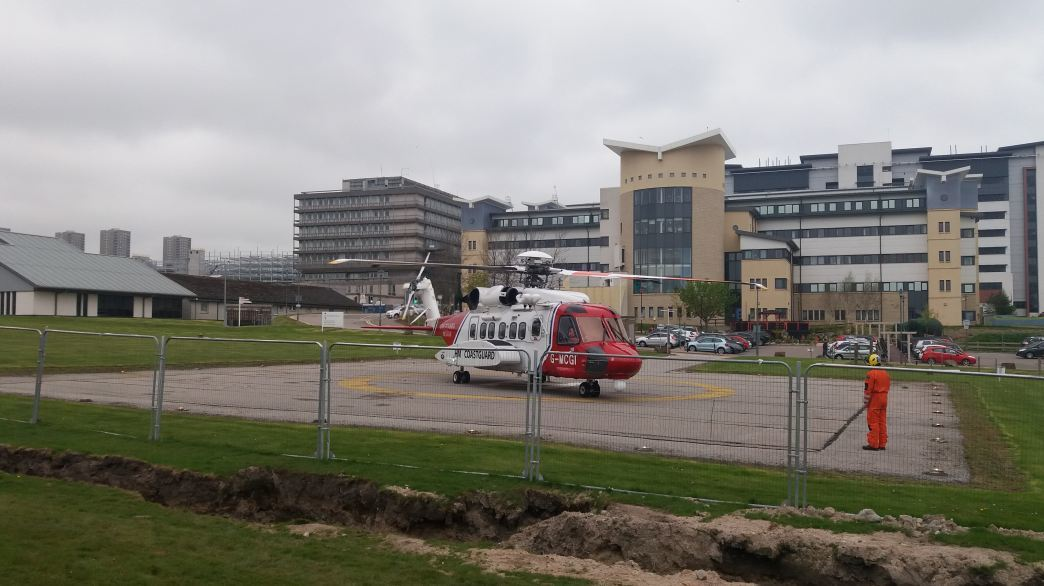The woman was airlifted to Aberdeen Royal Infirmary after the incident.