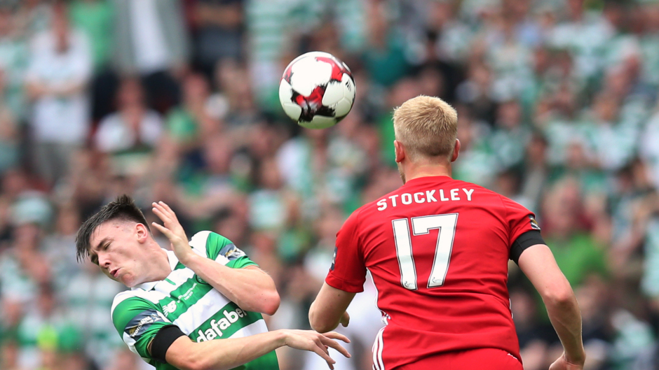 Celtic's Kieran Tierney suffered a facial injury after being caught by Jayden Stockley