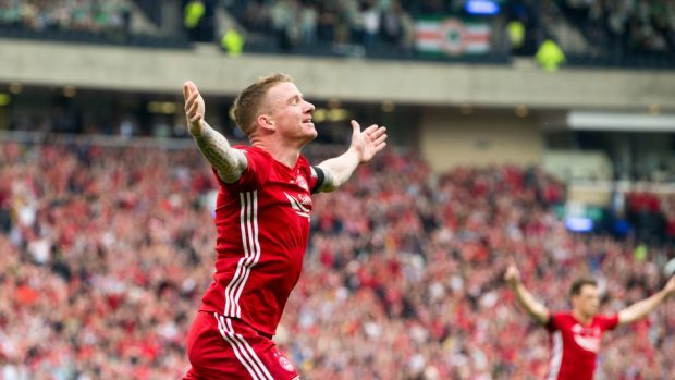 Jonny Hayes after scoring for Aberdeen in the Scottish Cup final in 2017.
