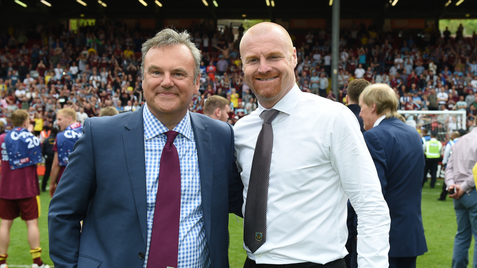 Burnley chairman Mike Garlick, left, and Sean Dyche