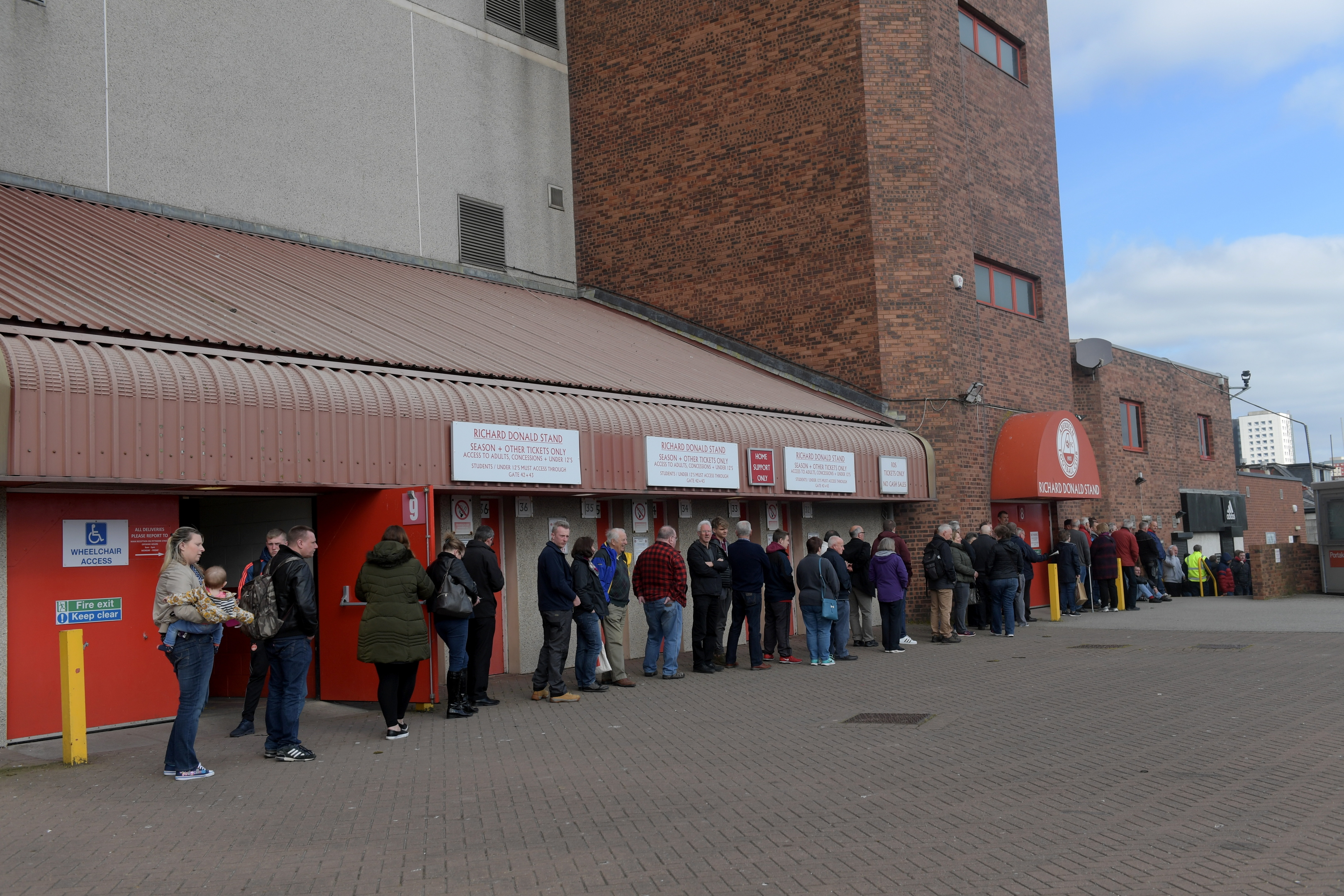 A queue formed at Pittodrie as tickets go on sale for Aberdeen's Scottish Cup final.