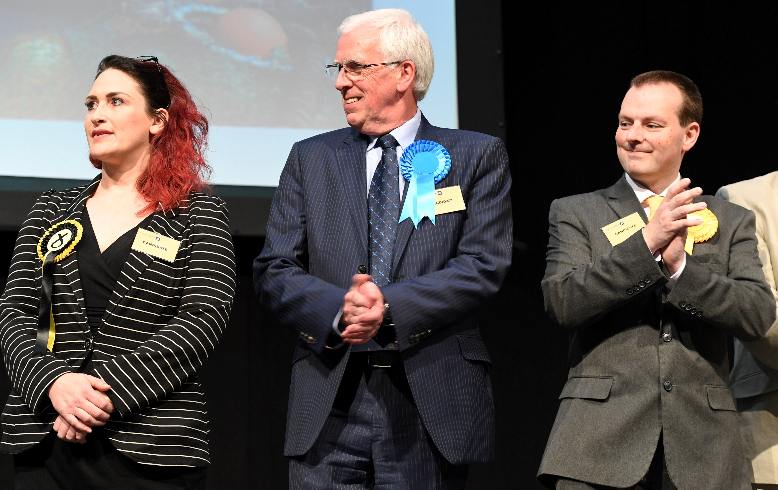 Jubilant: From left, Karen Adam, Jim Gifford and Andrew Hassan.  Picture by Chris Sumner.