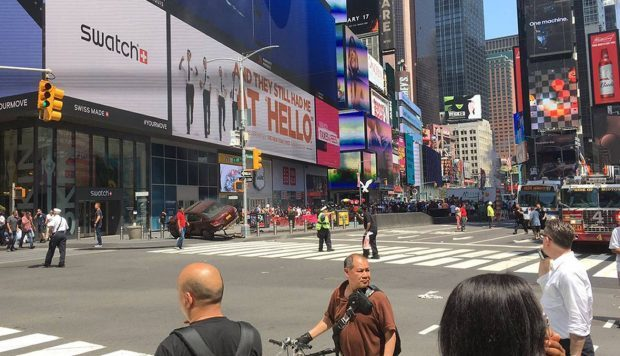 Picture taken with permission from the twitter feed of @Bad_Episode  of the incident in Times Square,