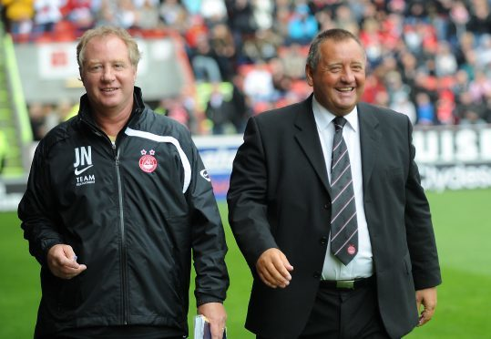 Jimmy Nicholl, left, and  Jimmy Calderwood in 2008.