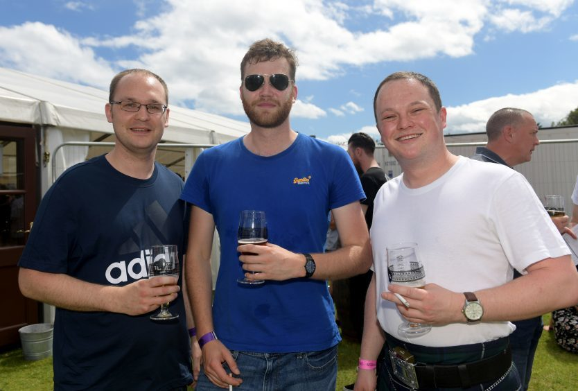 Fun in Focus. Midsummer Beer Happening, Stonehaven. From left, Mark Ross, Calum Gordon and David Gilmour. 17/06/2017. Picture by KATH FLANNERY