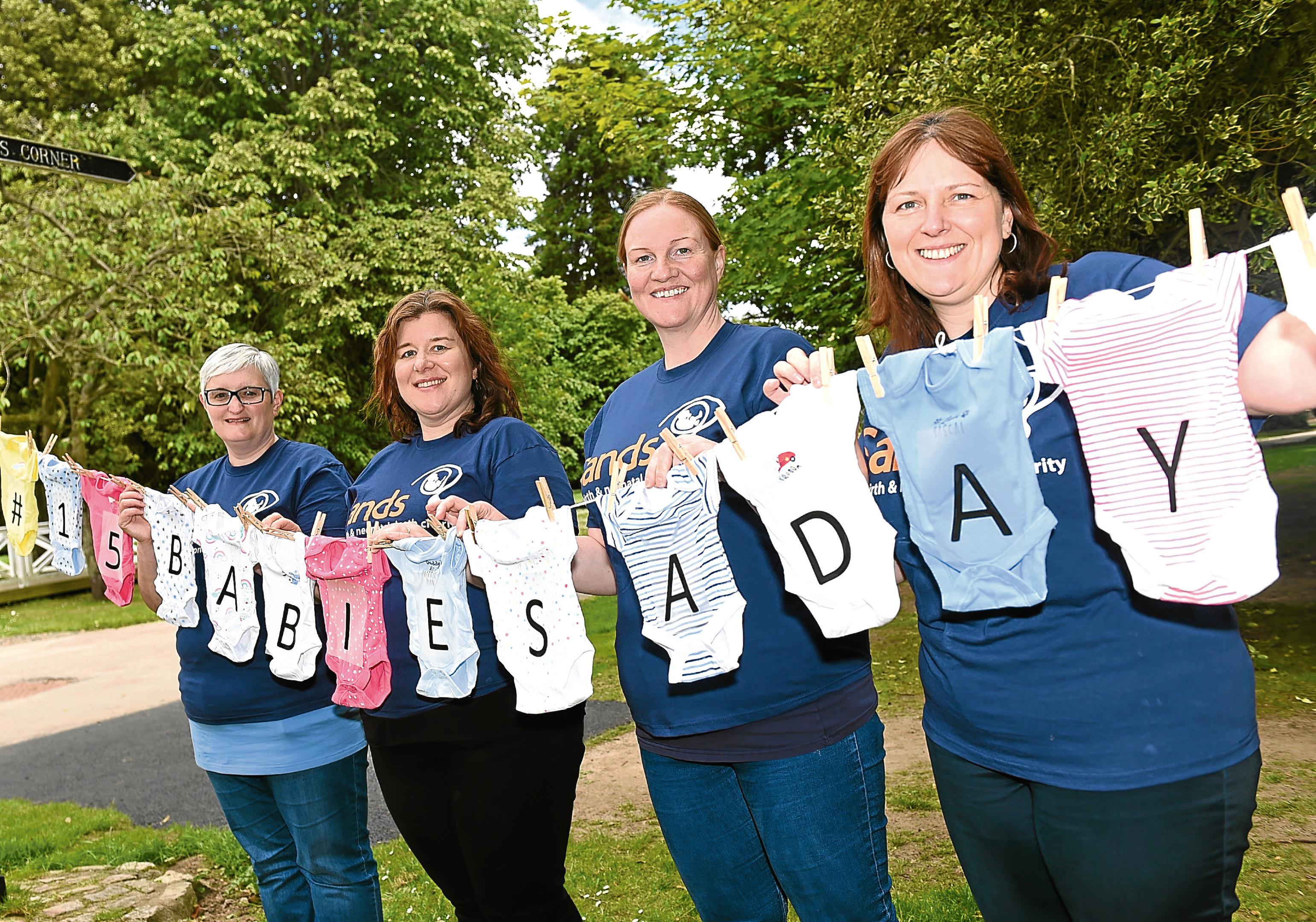 From left, Heather Robb, Jennifer Yeomans, Catherine Stewart and Sandra Stephen with the babygros at Hazlehead Park.