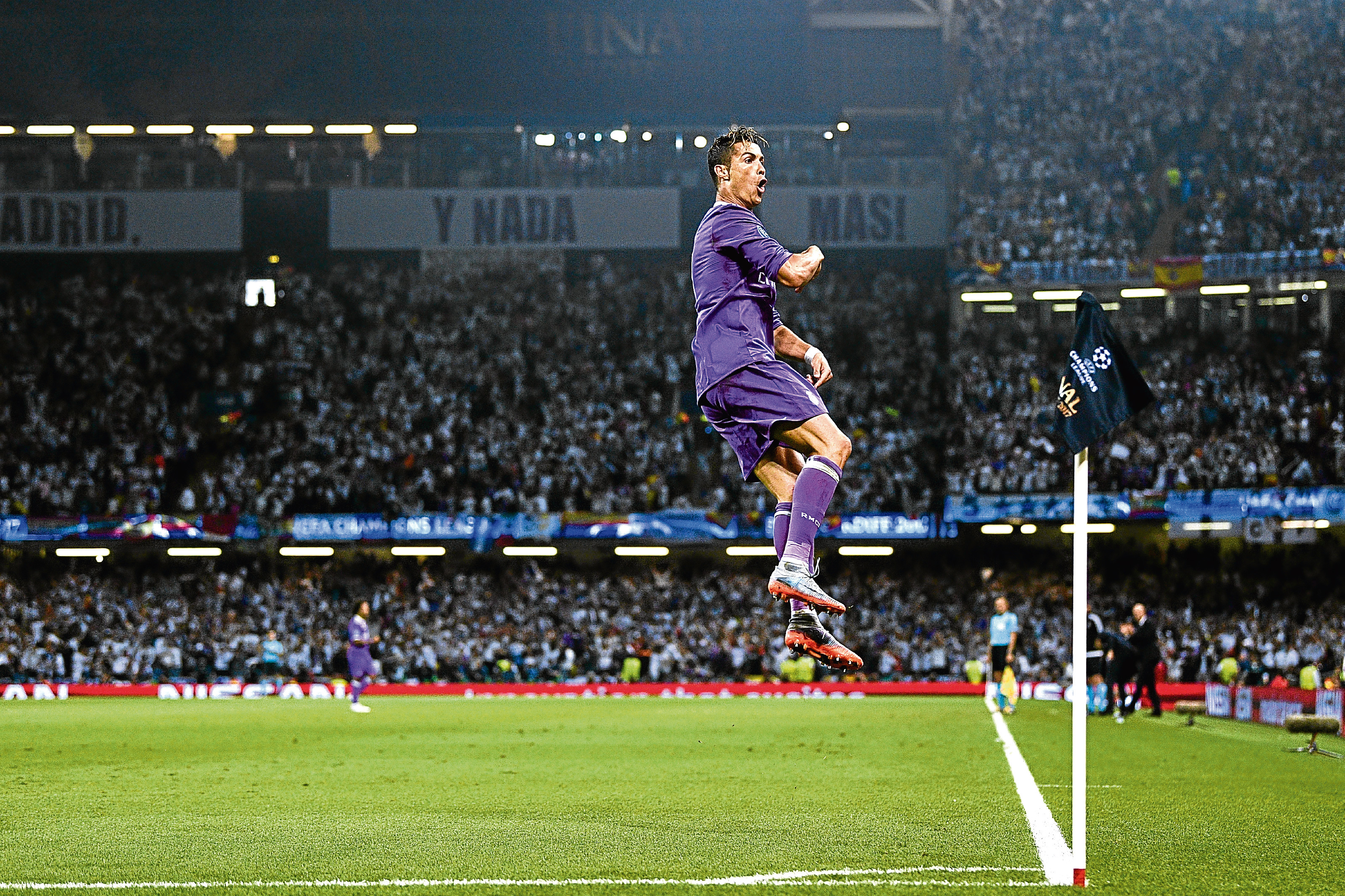 Cristiano Ronaldo celebrates after scoring Real's first goal during the UEFA Champions League Final.