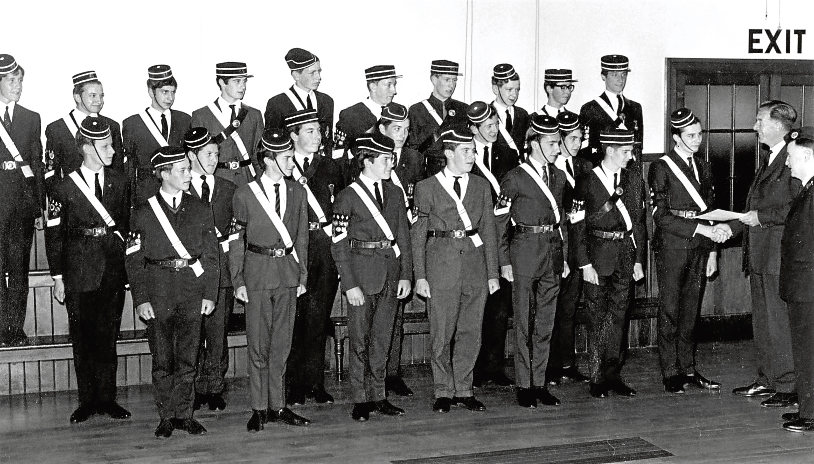 Aberdeen Battalion Boys' Brigade members who received Queen's Certificates and Badges at battalion headquarters.