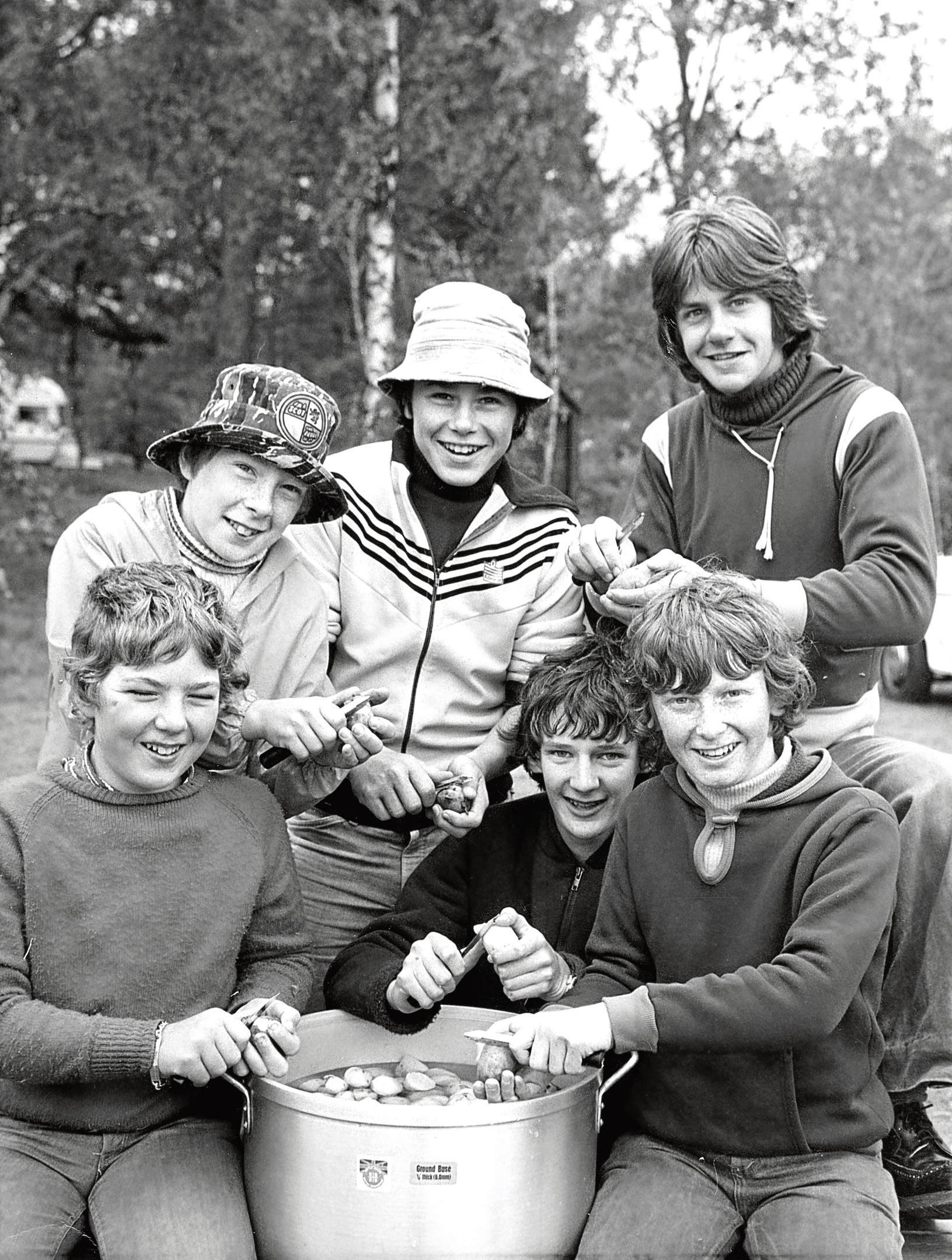 47th Aberdeen members peel some potatoes during the Culter Boys' Brigade camp.