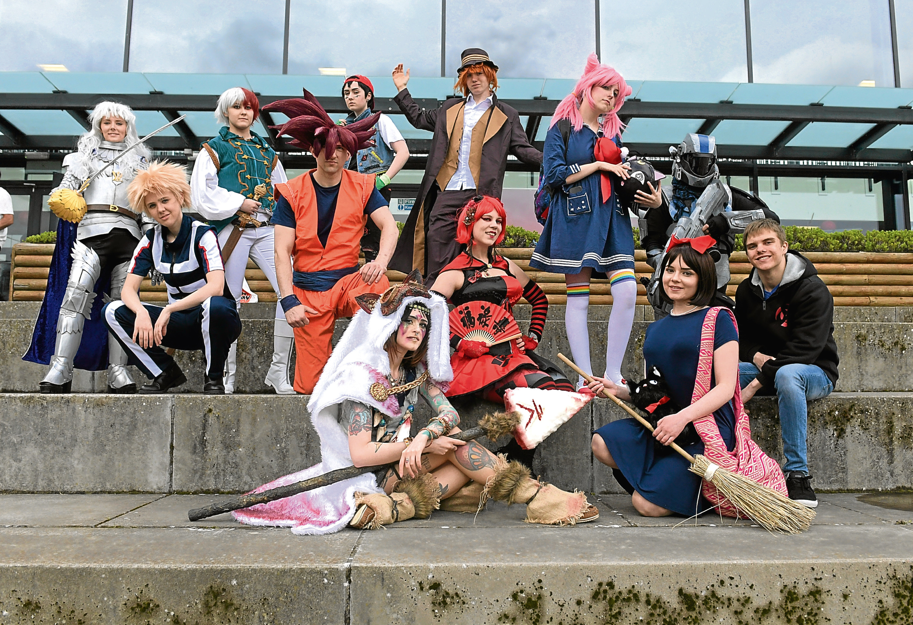 The judges and competitors of the Cosplay competition.