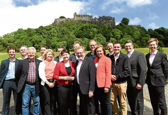 Ross Thomson was elected as Aberdeen South MP, third right.