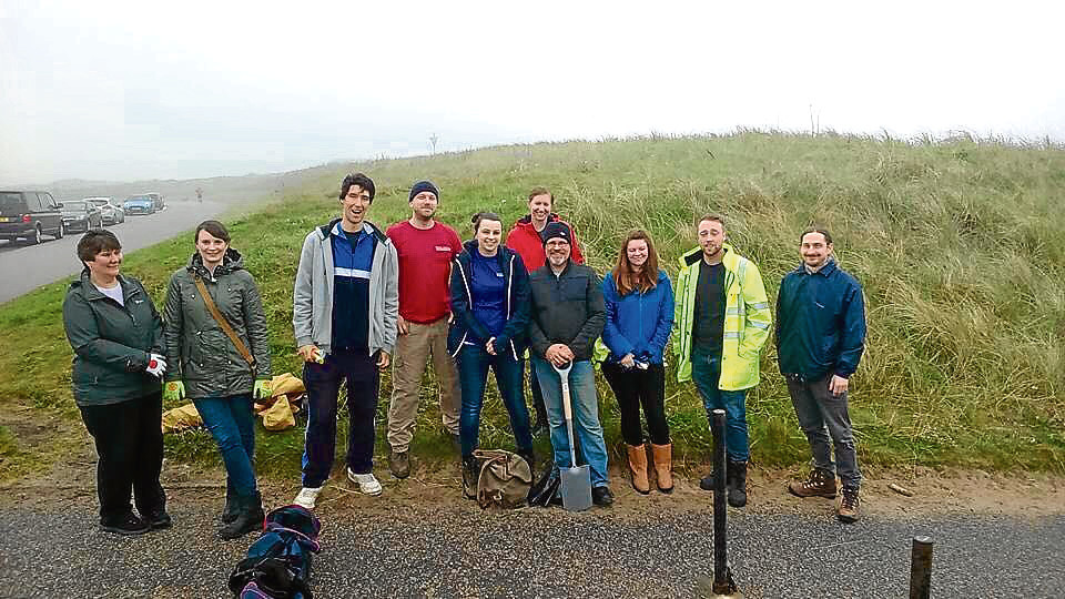 Volunteers from last  month's clean-up efforts at Aberdeen beach.