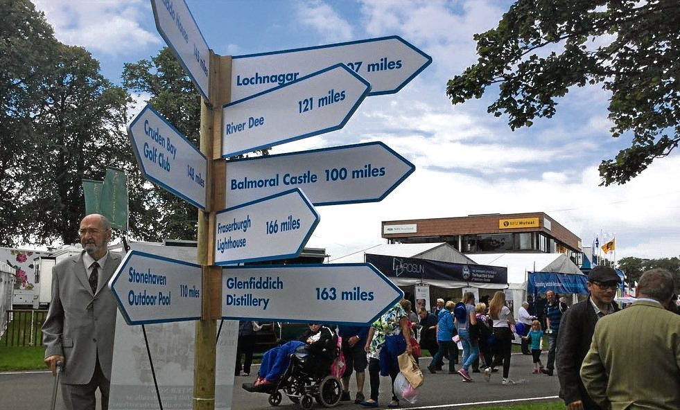 A signpost with North-east attractions.