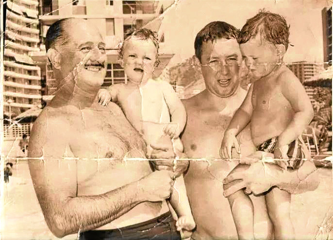 The mayor of Benidorm, José Manuel Reverte Coma, left holding Sean, with dad Desmond and brother Paul.