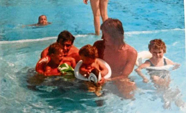 Sean's uncles Frank and Ronnie McKay with brothers Paul, left, and Sean, right on holiday in Benidorm in 1972.