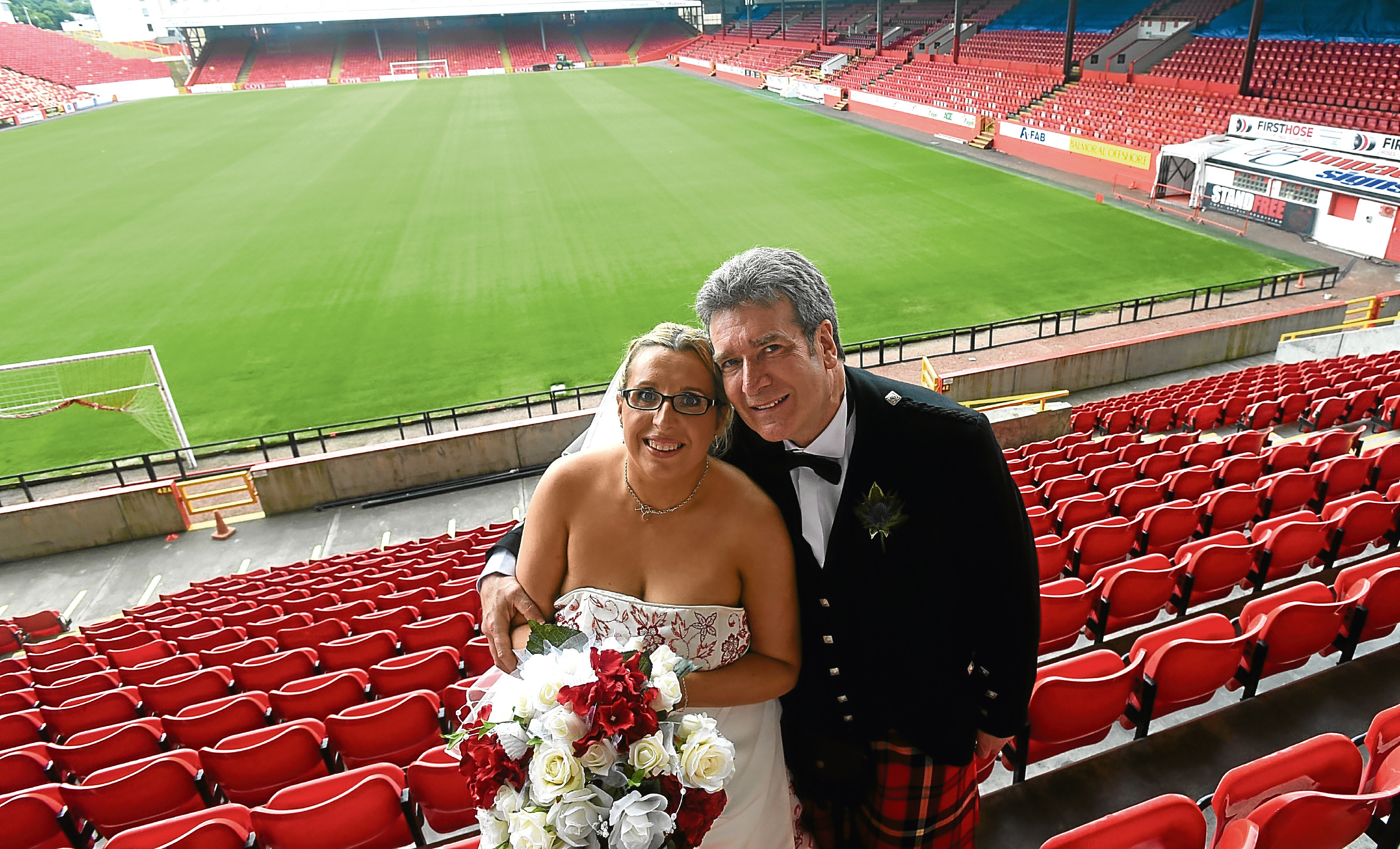 Angela and Robin Smith had their big day at Pittodrie.