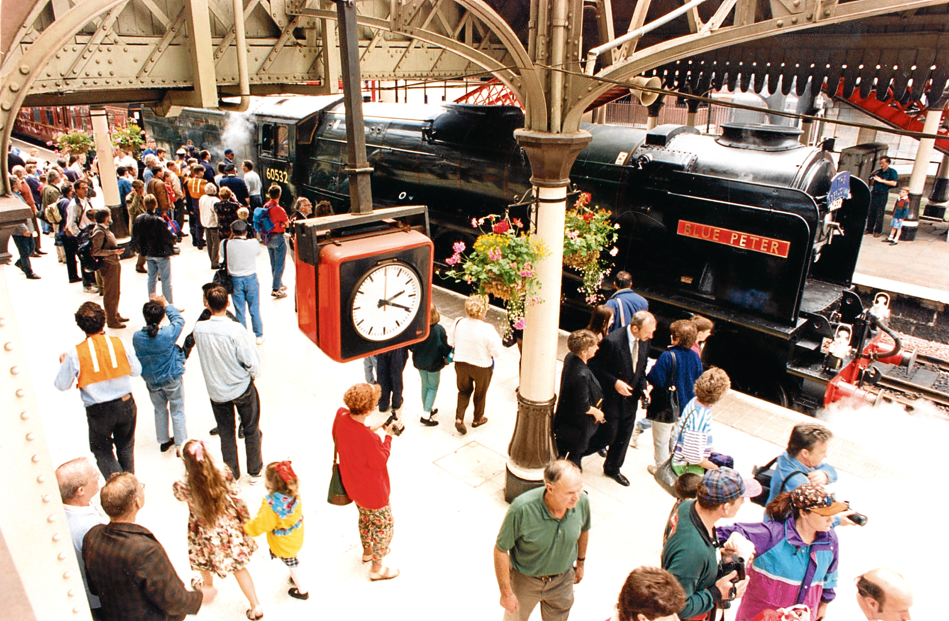 The Blue Peter steam train on a tour from Edinburgh to Aberdeen attracted much attention.