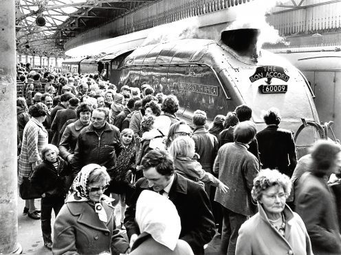 A large crowd with the Union of South Africa at Aberdeen Station.
