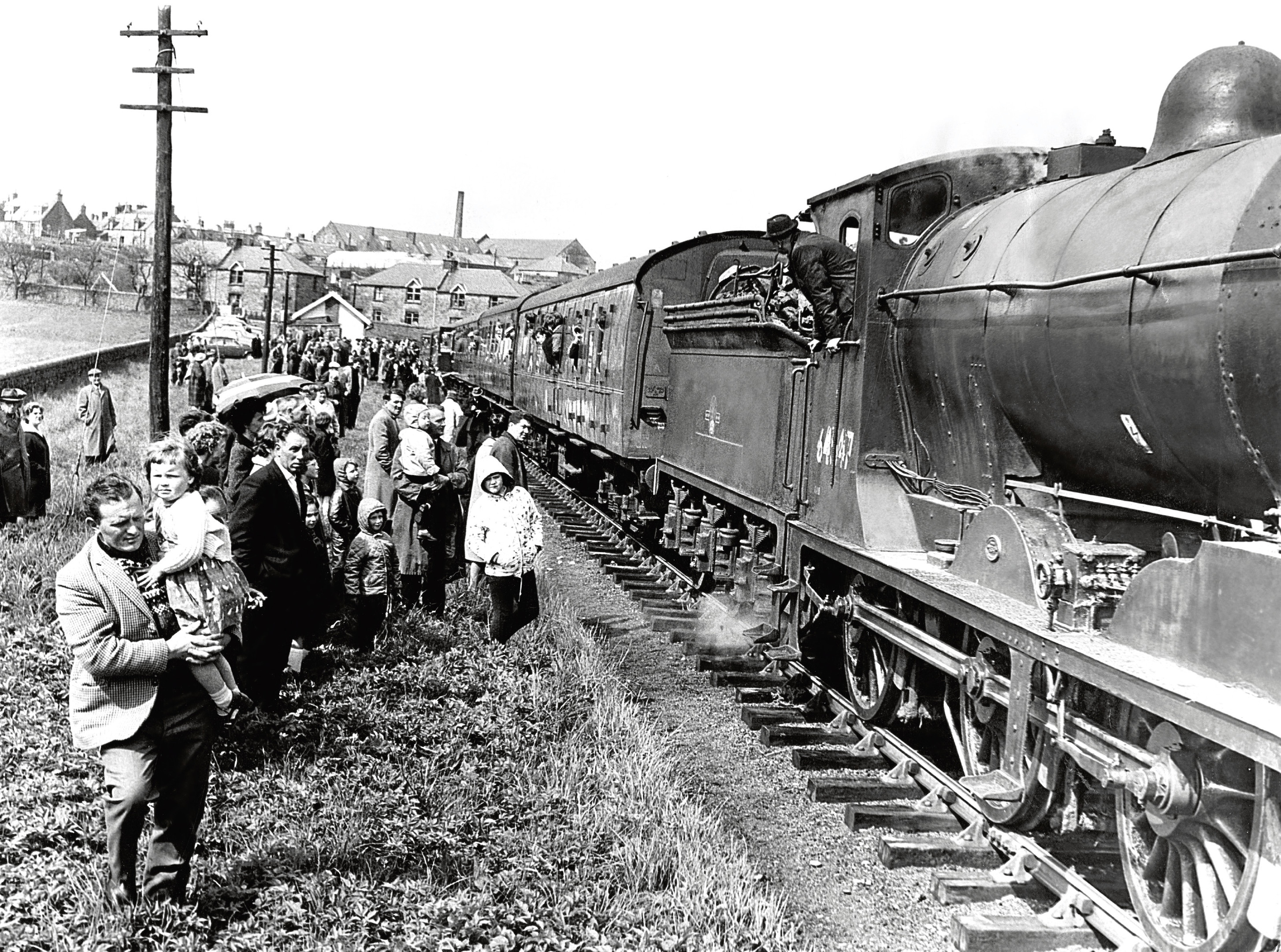 A crowd young and old gathered to watch the last train leave Inverbervie bound for Montrose