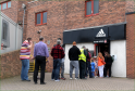 Fans queuing at the Pittodrie ticket office.