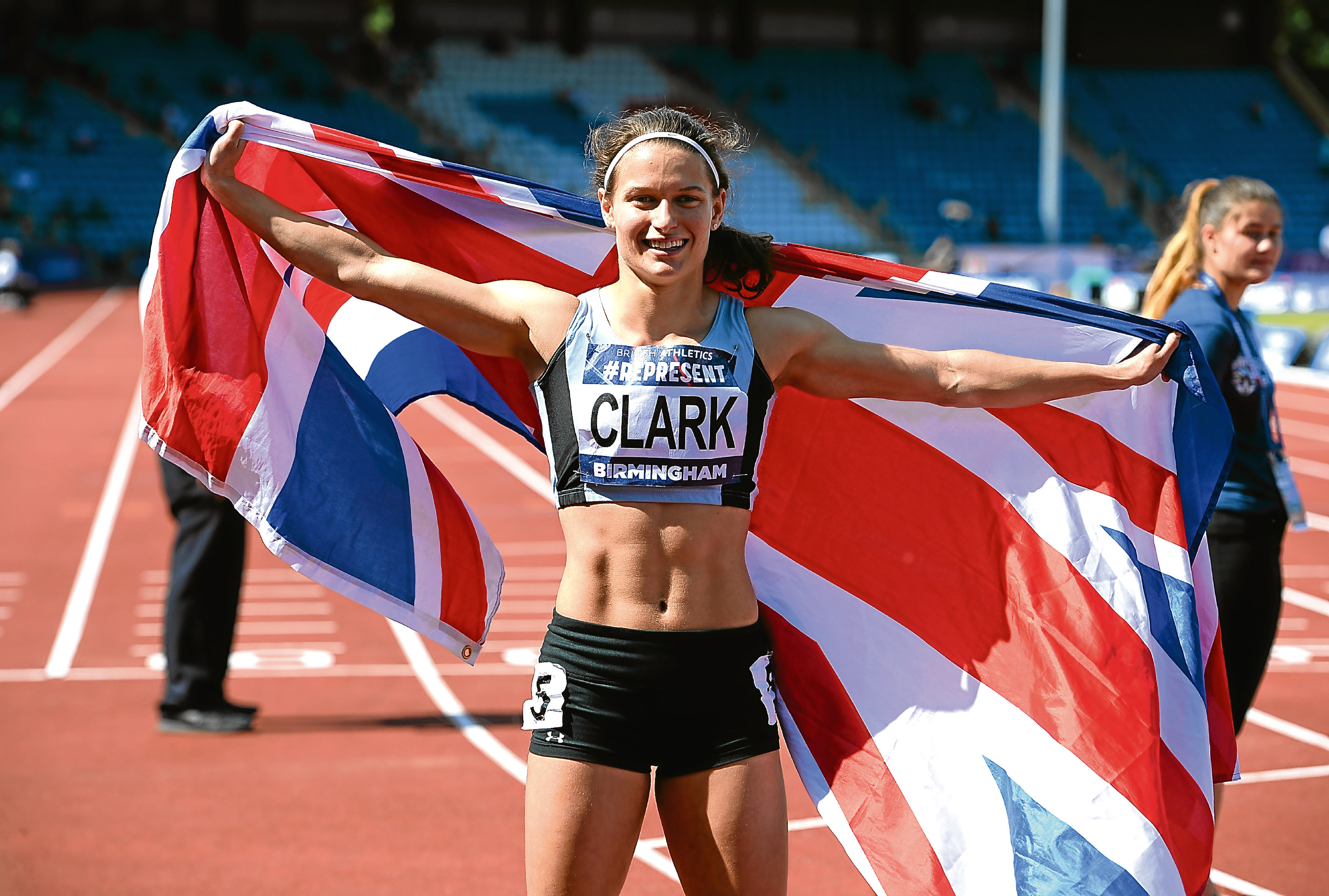 Zoey Clarke celebrates winning the Womens 400m Final during the British Athletics World Championships Team Trials at Birmingham Alexander Stadium in Birmingham, England.