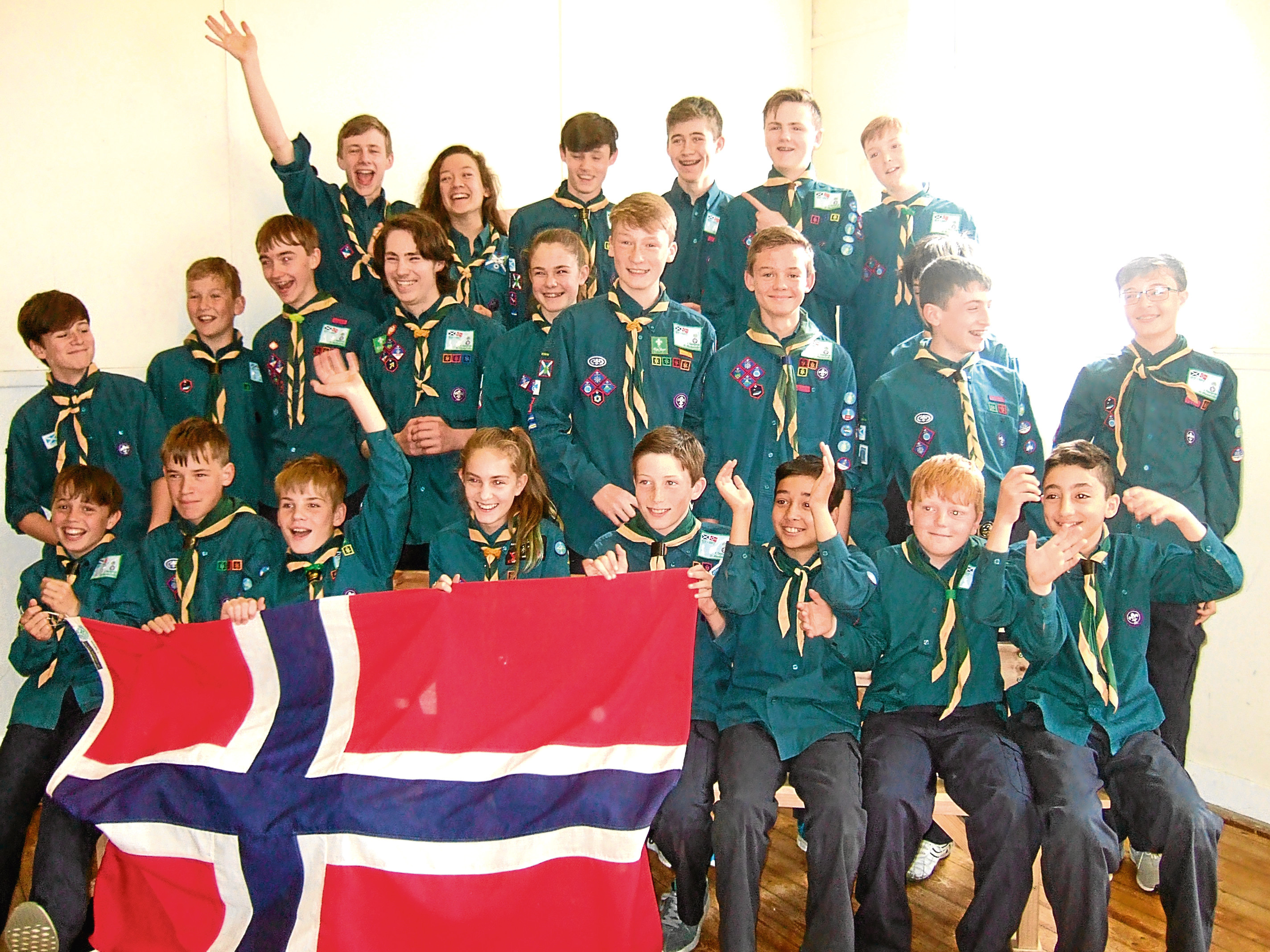 Some of the Scouts from 21st Aberdeen (Cults) group going to Norway.