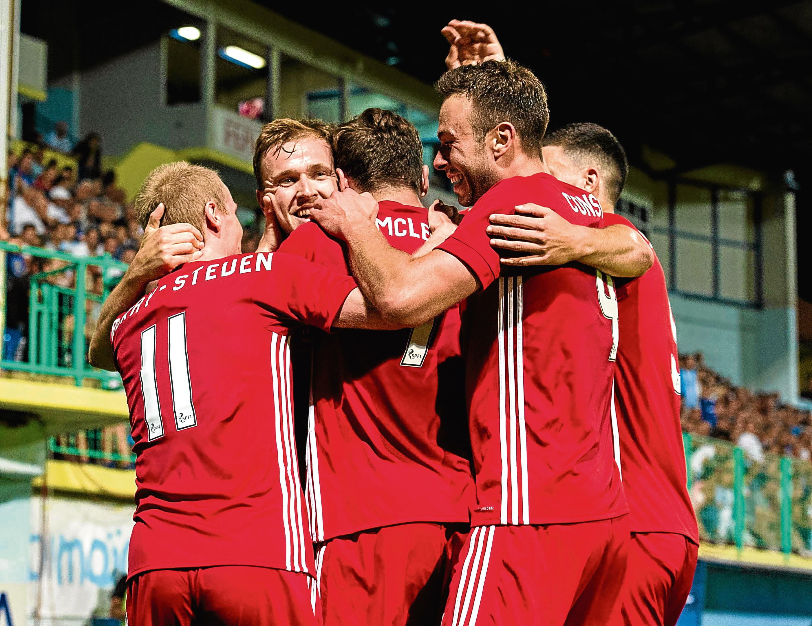 Aberdeen's Greg Stewart (second from left) celebrates his goal with his team-mates against Siroki Brijeg.