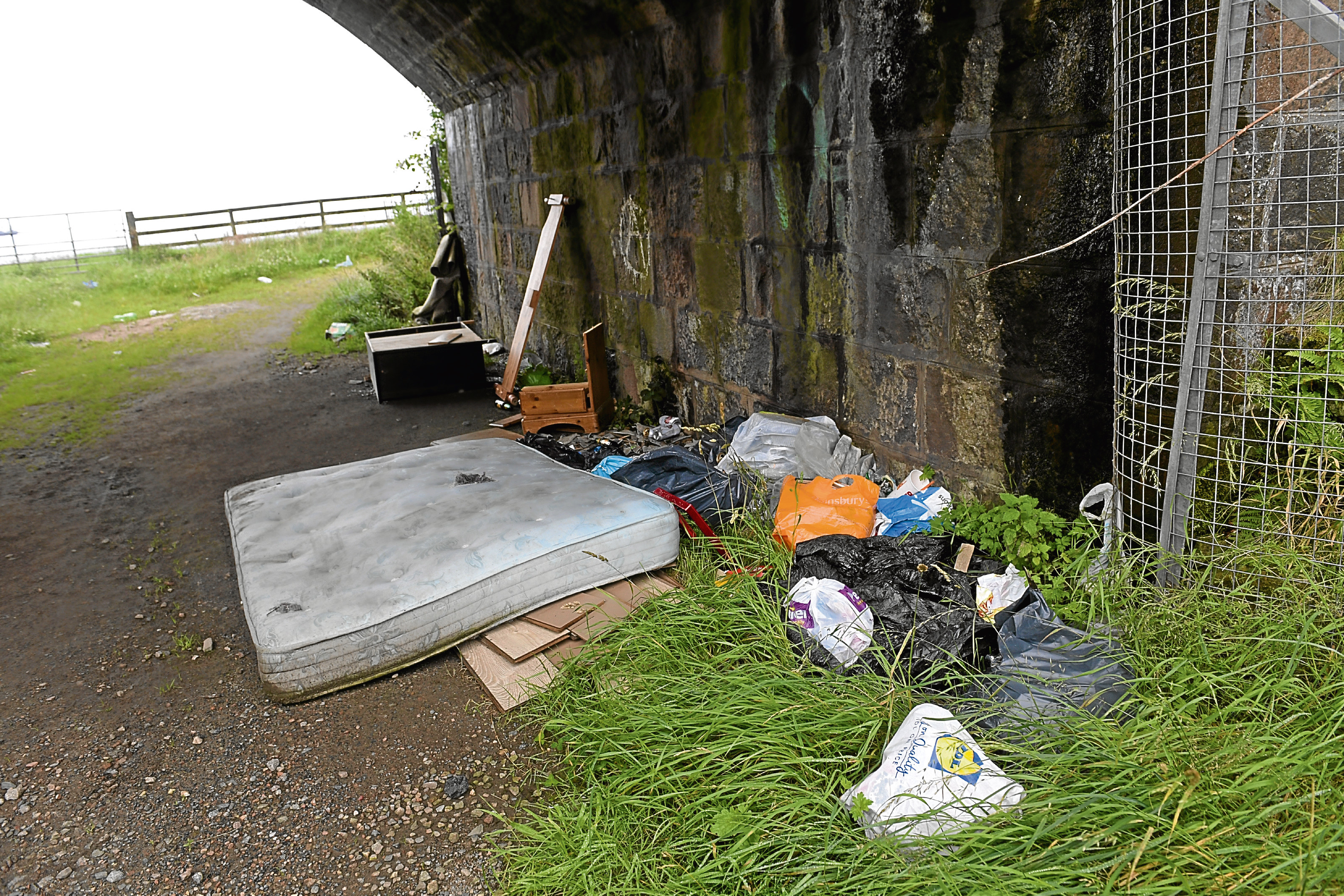 Flytippers have left rubbish strewn along the Coast Road route