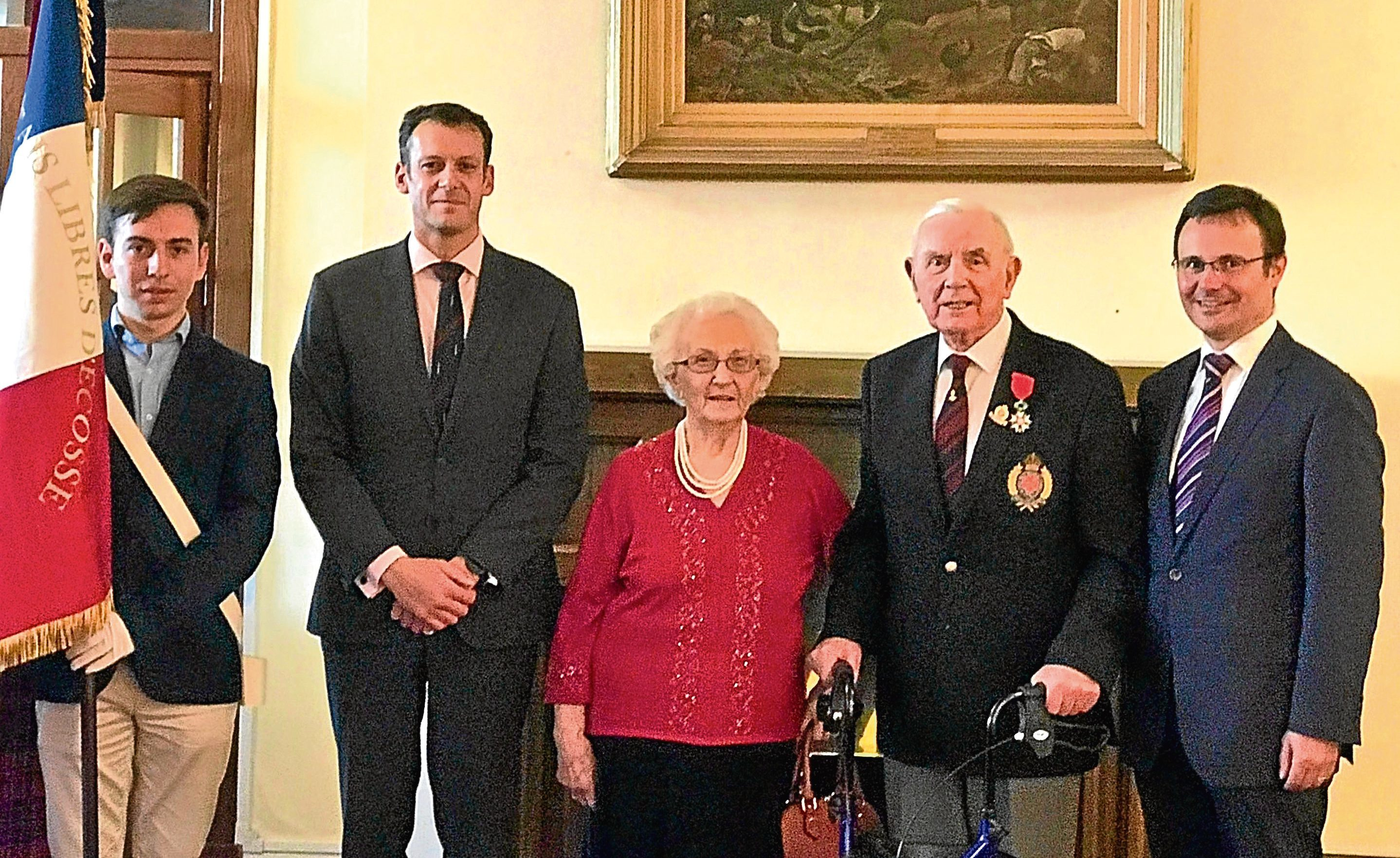 Irvine Rae (second right) after receiving the Legion d'honneur, France's highest honour for his role in the D-Day landings, with French Consul General in Scotland Emmanuel Cocher (right) and his wife Louise Rae (centre)