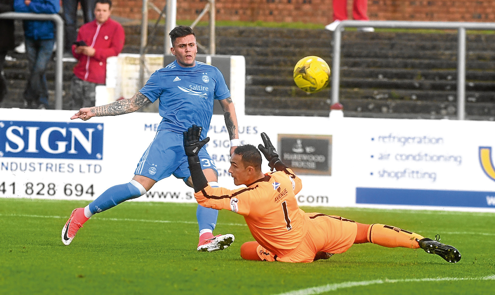 Miles Storey puts an effort wide against Arbroath.
