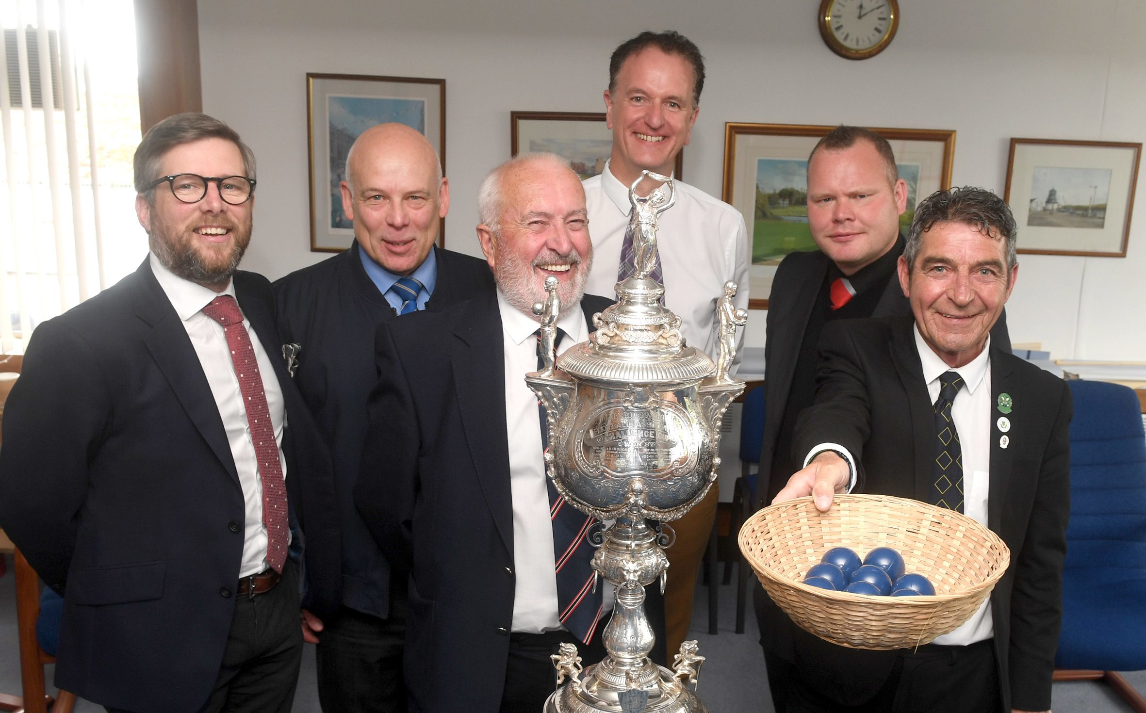 The draw for the 120th Evening Express Aberdeenshire Cup was held at the Aberden Journals today. Pictured from left are Barry Gibb from Inverurie Loco Works FC, Graeme Reid from Cove Rangers FC, George Manson from Turriff United FC, Billy Thomson from Inverurie Loco Works FC, Bryan Braidwood from Formartine United FC and Garry Farquhar cor from Buckie Thistle FC and President of Aberdeenshire and District Football Association. Pic by Chris Sumner.