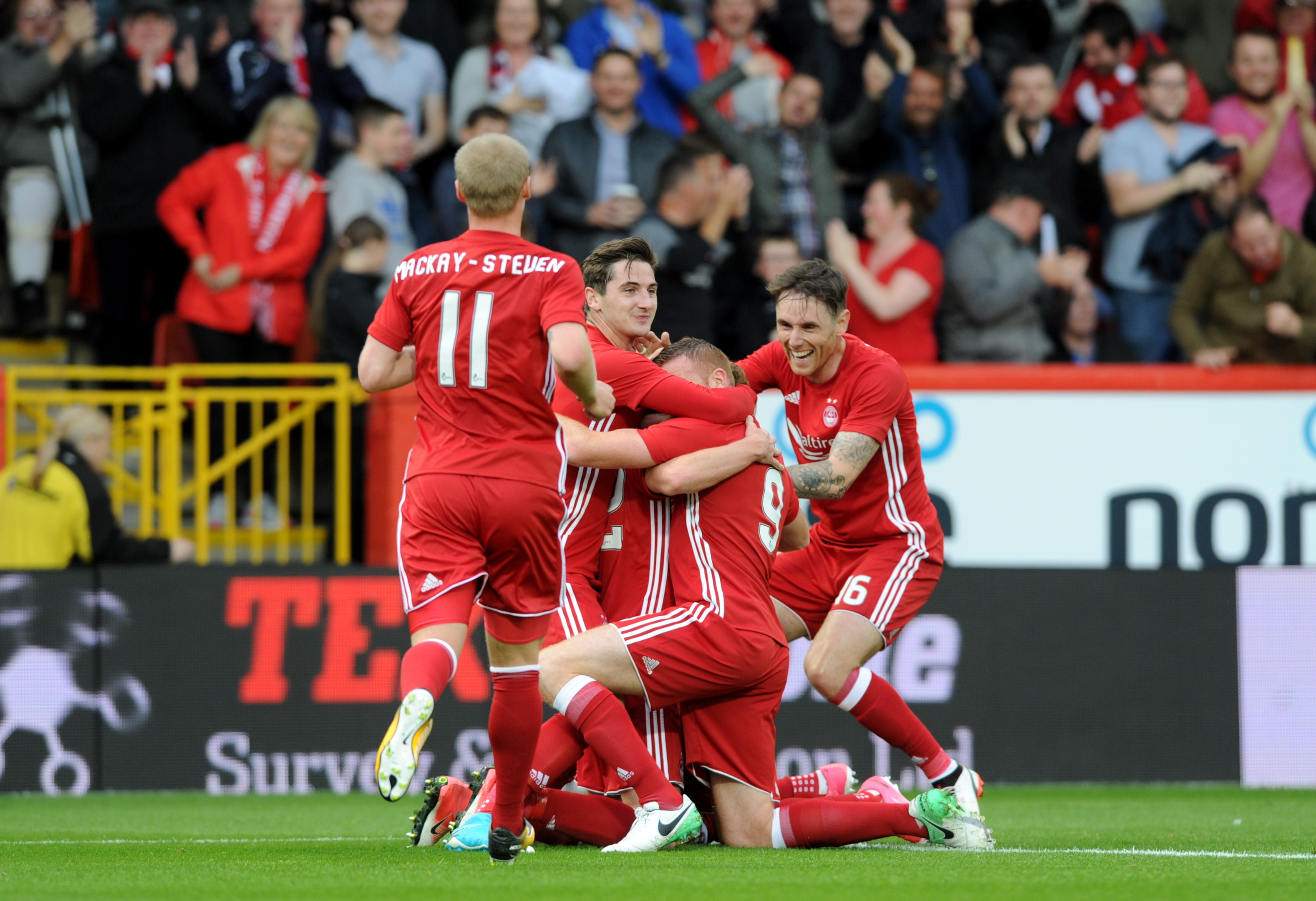 Ryan Christie celebrating scoring the first goal of the match against Siroki Brijeg.