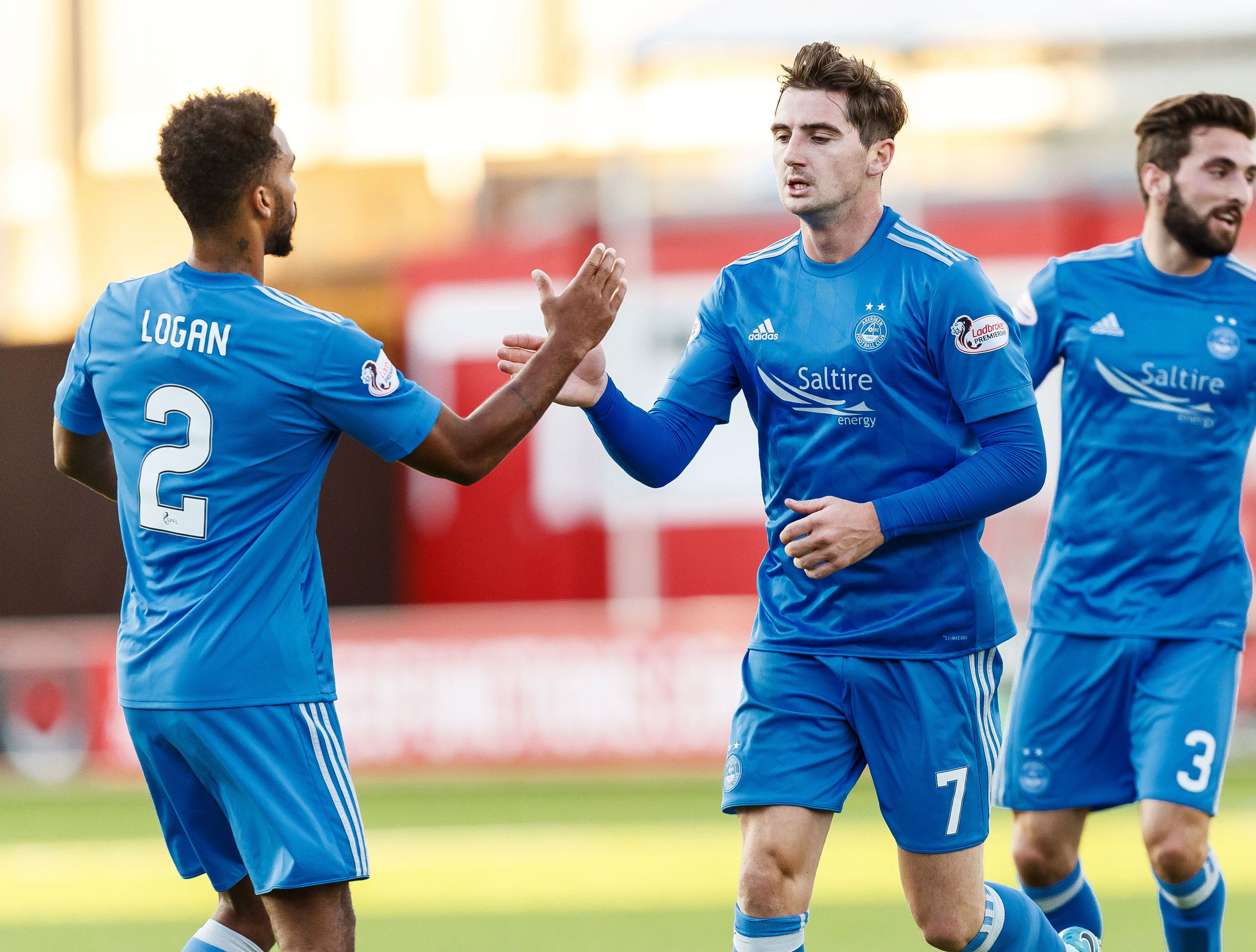 Aberdeen's Kenny McLean (right) celebrates his goal against Hamilton with Shay Logan.