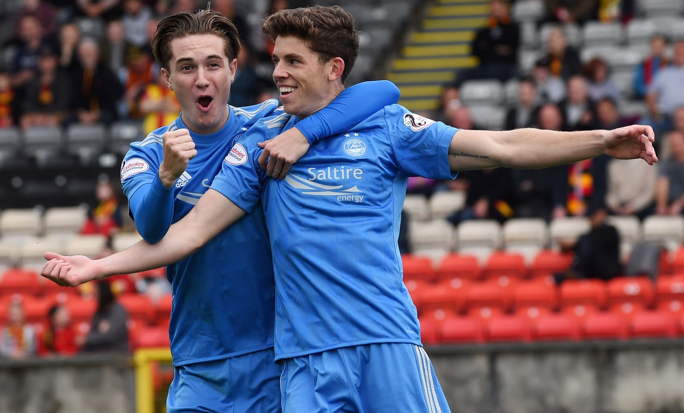 Aberdeen's Ryan Christie (right) celebrates his early goal with Scott Wright